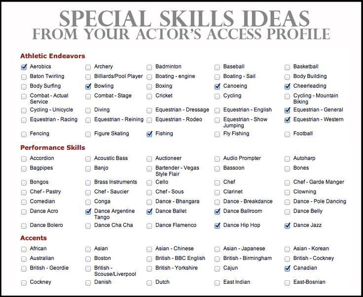 undefined Resume skills section, Resume skills, Acting