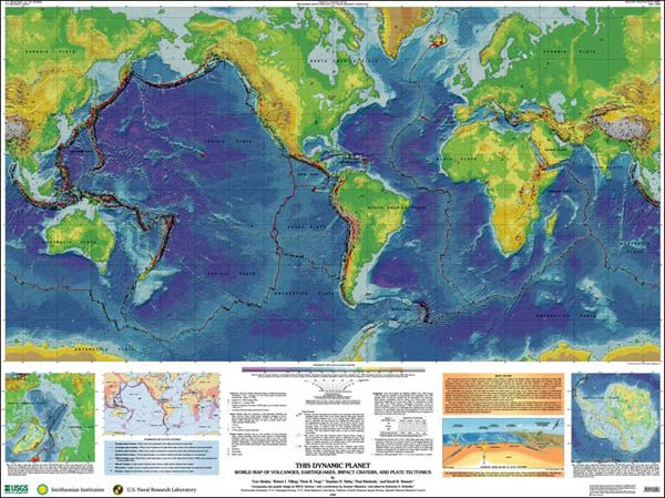 World Map of Volcanoes, Earthquakes, Impact Craters, and Plate Tectonics (USGS)
