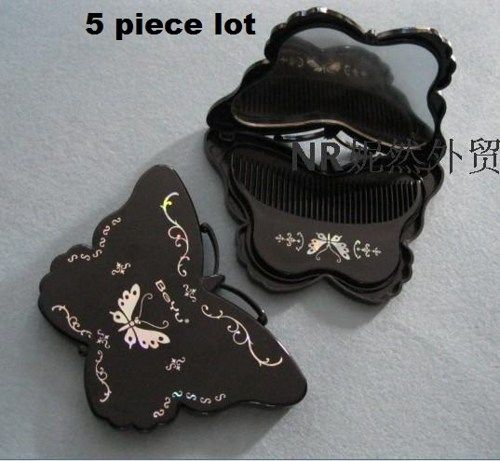 5 pieces Flat butterfly and comb Anna sui compact mirror great for diy | chriszcoolstuff - Craft Supplies on ArtFire