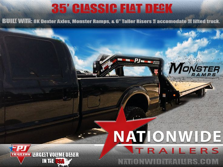 #PJTRAILERS 35' Classic Flat Deck built with Monster Ramps, 8K Dexter Axles, and Taller Risers to match the lift kit on this awesome truck!