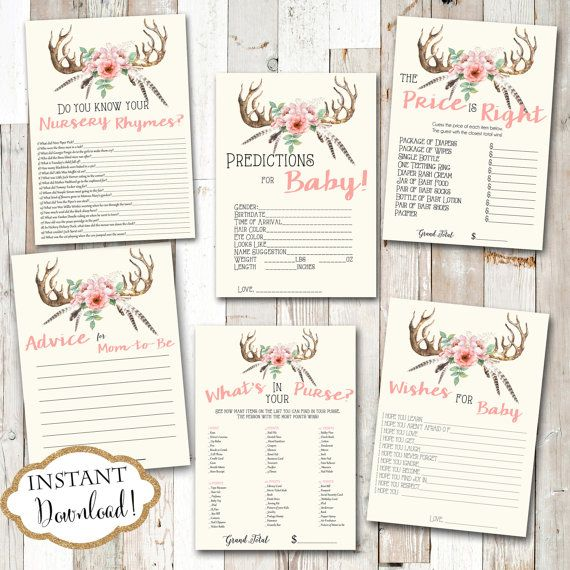 INSTANT DOWNLOAD  Baby Shower Game Package Printable Games Pink Floral Boho Tribal Antler by JanePaperie