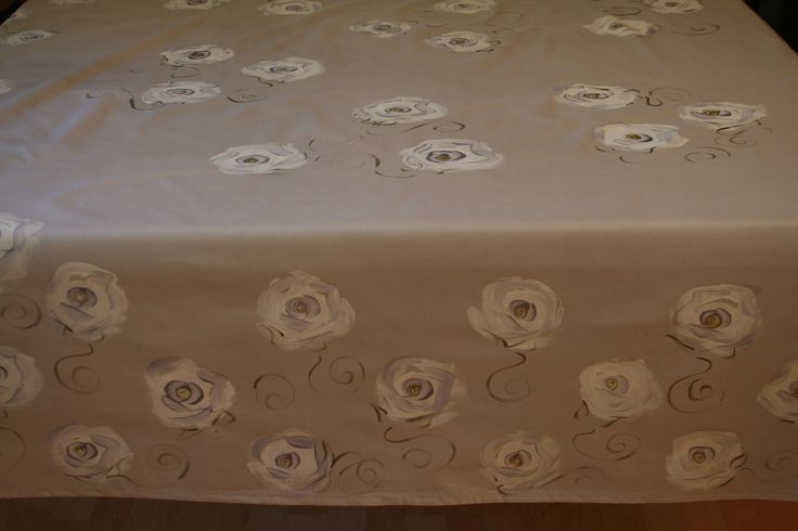 Hand painted by Dana White roses on a light silver background, with a touch of lilac and gold. www.dmgdesigns.co.za