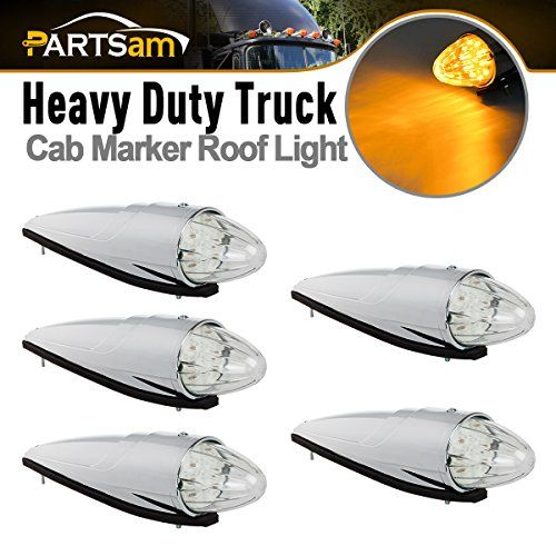 Partsam 5x Clear Lens Torpedo Clearance Roof Running Top 17 LED Amber Lights For Heavy Duty Trucks Kenworth Peterbilt Freightliner Mack.