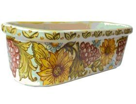 """Flowerpot """"Grapes and Sunflowers"""" Flower pot or vase holder made and hand-painted in majolica. Rectangular shaped with round angles. #madeinitaly #artigianato #majolica #oggettistica #craftobject"""