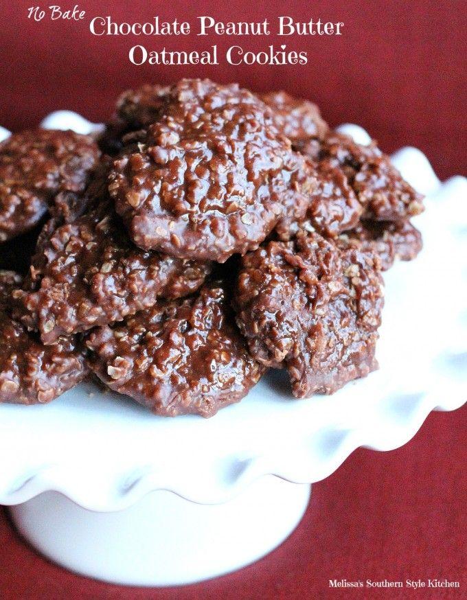 No Bake Chocolate Peanut Butter Oatmeal Cookies - melissassouthernstylekitchen.com