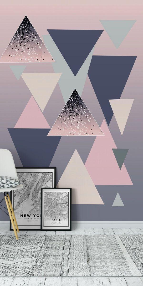 Geometric Triangles Glitter 1 Wall Mural Geometric Wall Paint