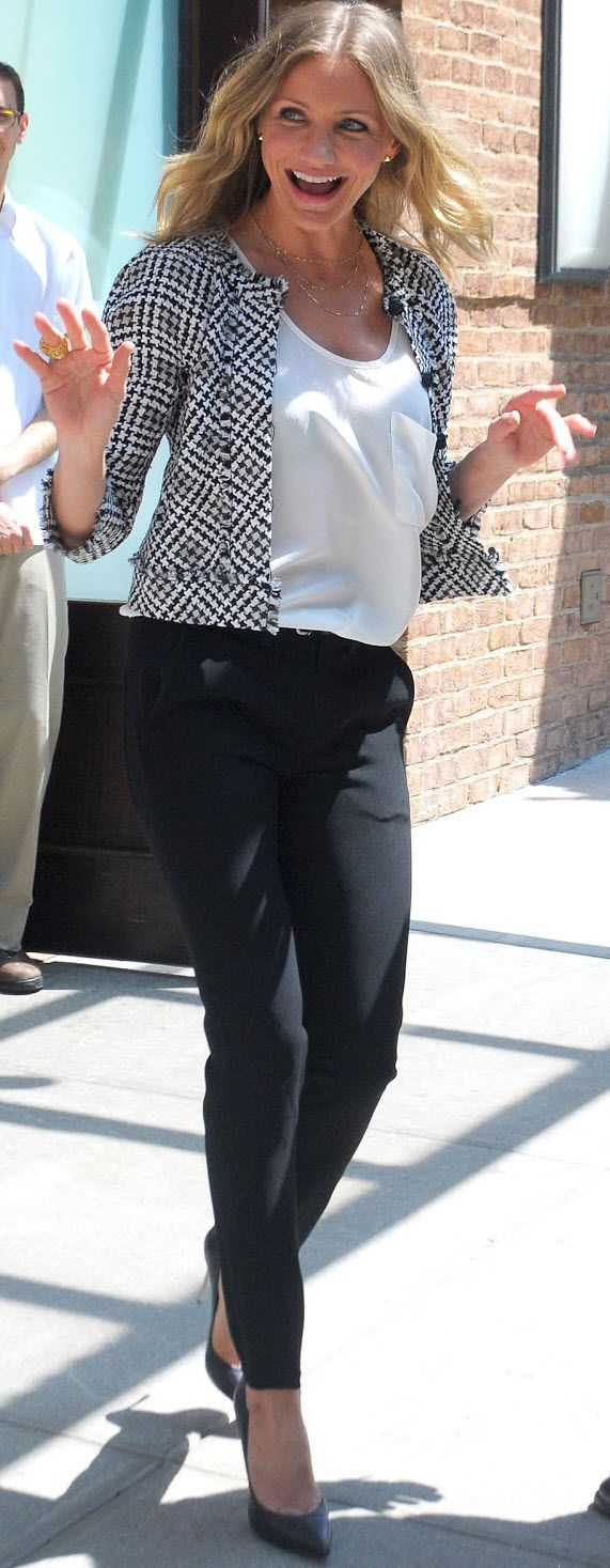 Celebrity Crush. Love how she dresses -- casual and cool. Lots of scoop neck blouses with blazers.