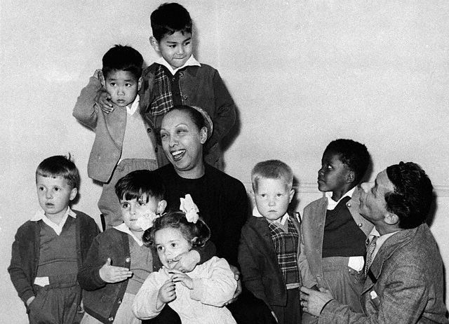 Josephine Baker and her husband, bandleader Jo Bouillon with some of their adopted children in France, 1964.