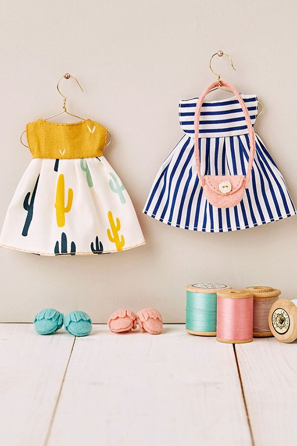 Doll's clothes sewing pattern in Mollie Makes