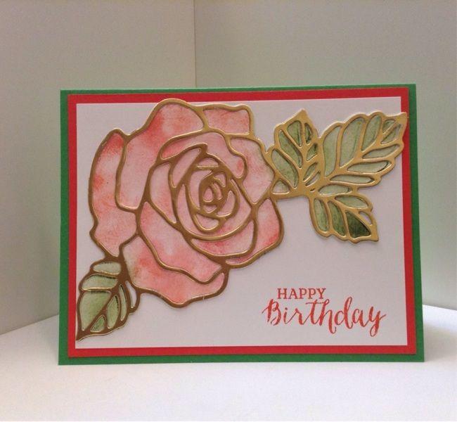 Happy Birthday Handmade card (gold foil paper pieced) w/ GIN Bonus