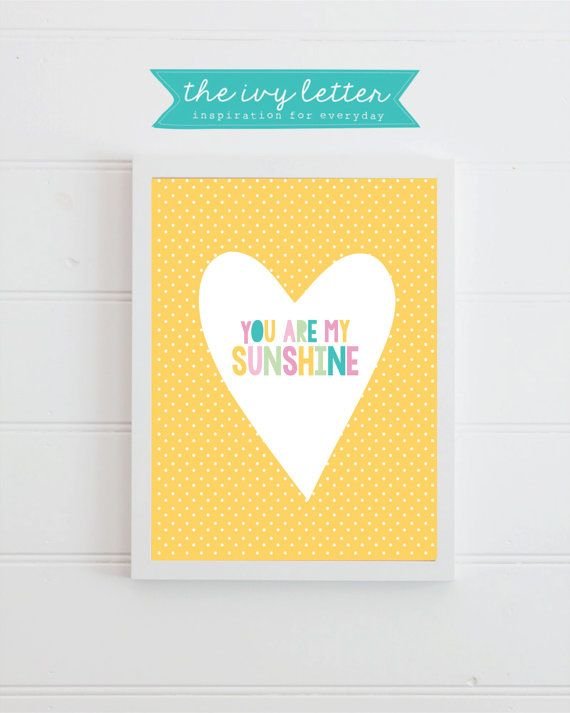 You are my Sunshine Wall Art Kids Nursery Song by TheIvyLetterShop