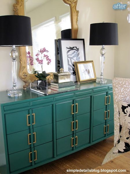 Turquoise dresser with gold handles.  Asian influence and a bit formal.