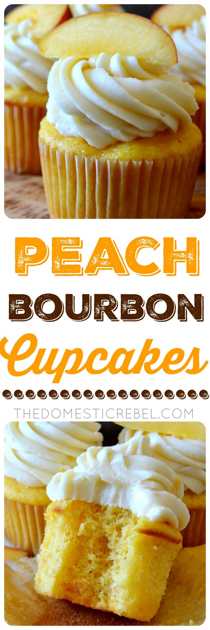 These Peach Bourbon Cupcakes couldn't be easier or more impressive to whip up! Moist and tender peach cupcakes topped with a bourbon-infused real peach buttercream frosting. So great for when peaches are in season and extra ripe!