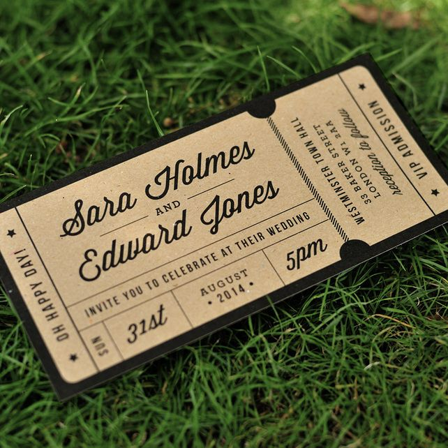 Admission Ticket Wedding Invitation - 'Just the Ticket' Design - One Sample £2.30
