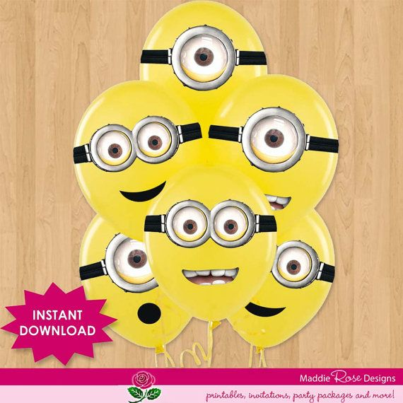 Despicable Me INSTANT DOWNLOAD for Party Favors - Minion Eye Goggles Printable labels stickers - Balloons, Treat Bags - Birthday Invitation on Etsy, $4.99
