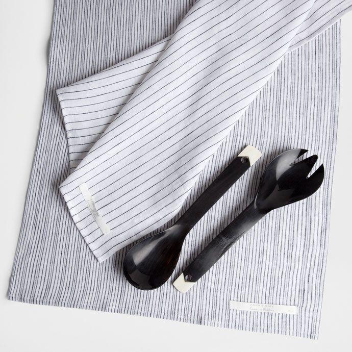 Εικόνα 1 του προϊόντος Λινή πετσέτα κουζίνας με μαύρες ρίγες (σετ των δύο)