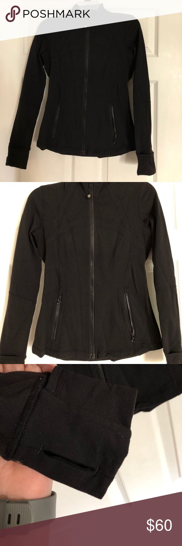 Lululemon Define Jacket sz 6 black Excellent condition. Minor pulling on the inside and directly under the arm pits. Won't see it unless you're looking hard. Zipper works with no issues. No rips, stains or tears. Bottom of the sleeves roll over to cover your hand on cold days. Smoke free home. lululemon athletica Jackets & Coats