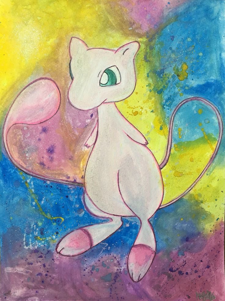 Watercolor painting of Mew Pokemon card