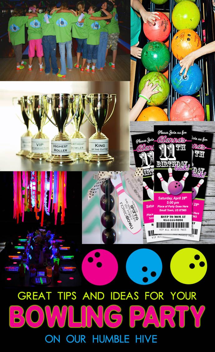 Bowling party birthday | bowling shirts | bowling trophy | glow in the dark table setting | bowling party invites