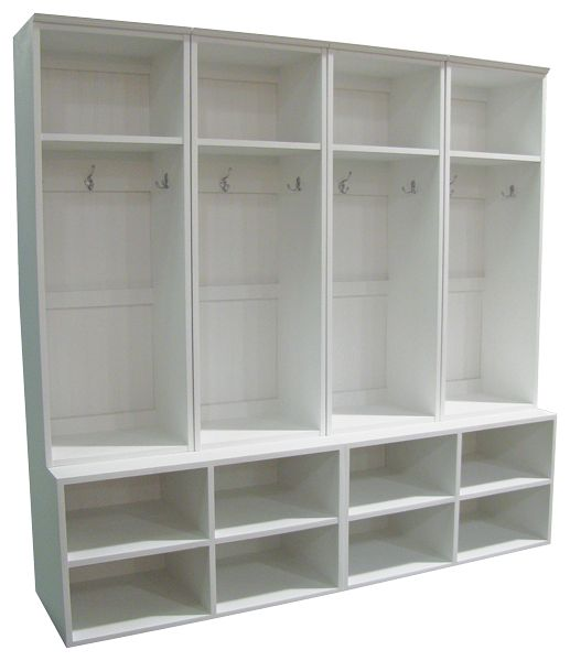 CUSTOM - Wide Lockers on Cubby Benches - These four custom wide short  lockers are set