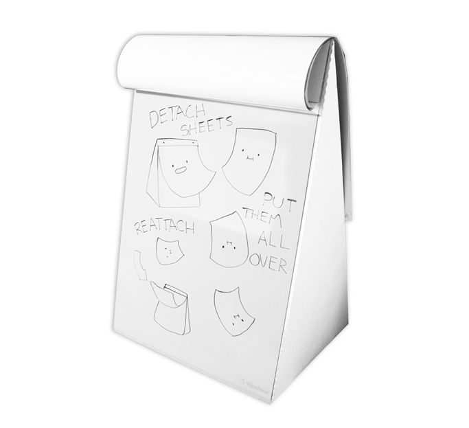Dry erase mistakes, solve math problems, brainstorm, and generate ideas with a portable eco-friendly non-permanent reusable whiteboard notebook & flip chart.