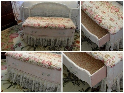 Old Dresser (found on Craig's List)...re-purposed into a lovely shabby chic bench! Awesome! Instructions included.