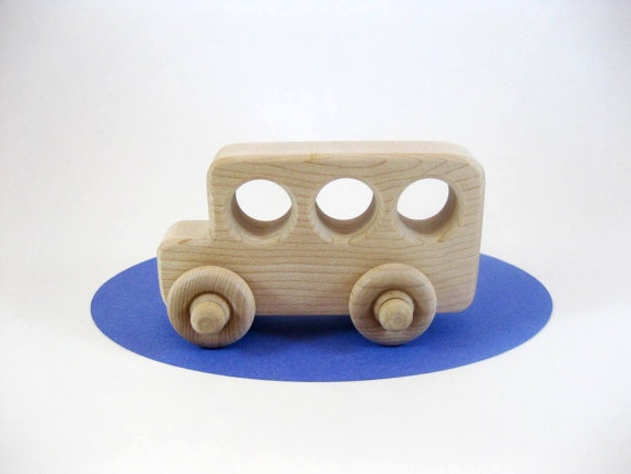 Little Wood Toy School Bus Natural Maple by GreenBeanToys on Etsy, $6.00
