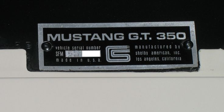 1965 Ford Mustang Shelby GT 350 badging