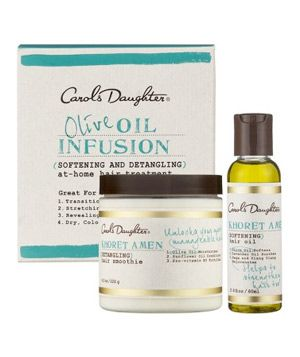 The deep moisture Carol's Daughter's Olive Oil Infusion At-Home Treatment provides is great for overprocessed and brittle hair, and ideal for detangling curls.: Carol Daughters, Olives Oil, Olive Oils, Daughters Olives, Oil Infused, Hair Treatments, Infused At Hom, At Hom Treatments, Infused Athom