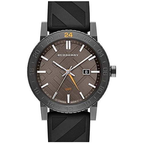 Burberry Orologio The New City Gmt Black Check Rubber 42Mm Watch Bu9341