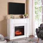 Rochester 48 in. W Faux Cararra Infrared Electric Media Fireplace in White, White With Gray Veined White Faux Marble