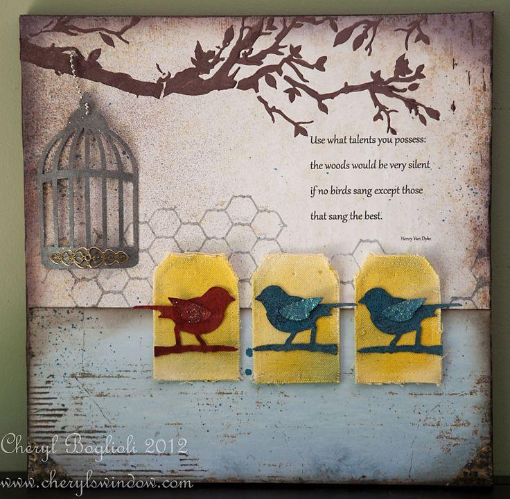 TCW259 Chickenwire reversed & TCW207 Birds of a Feather. Layout by Cheryl Boglioli