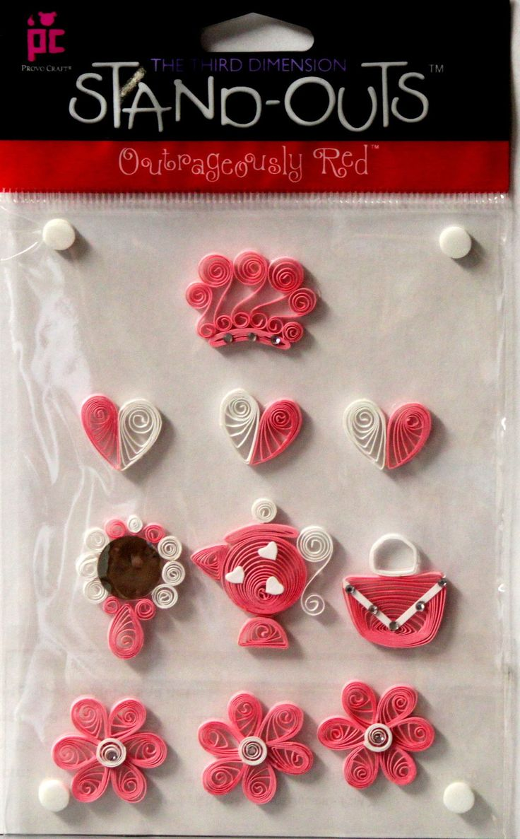 Provo Craft Stand-Outs Princess Pink Quilled Dimensional Scrapbook Stickers