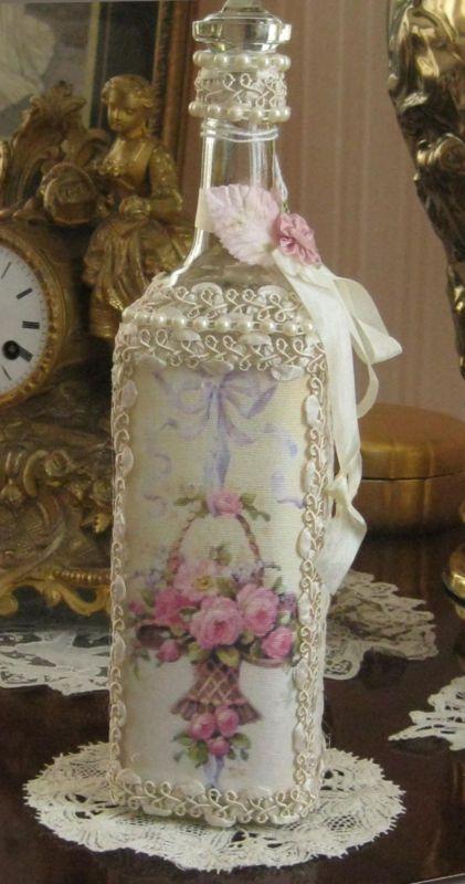Mídia mista Arte alterada Garrafa-Rose Impressão-Lace, Elegante Shabby, Ooak                                                                                                                                                      Mais