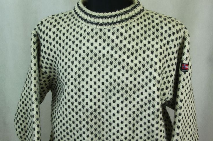 DEVOLD Mens Pure New Wool Nordic Cable Knit Winter Jumper sz L Made in Norway #Devold #Jumpers