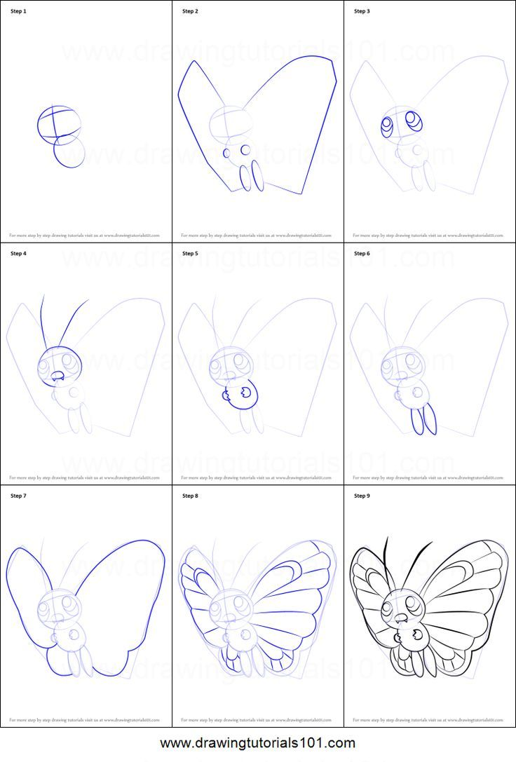 How To Draw Butterfree From Pokemon Printable Drawing Sheet By Drawing Sheet Easy Pokemon Drawings Pokemon Drawings