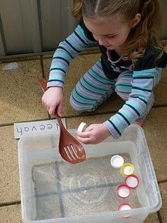 Write letters on bottlecaps and put in water table or bucket. Have students scoop out the letters they need for their names, book characters, colours, numbers etc... Great for motor skill development, letter awareness and fun!