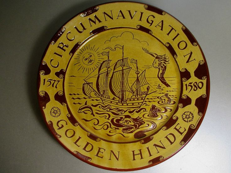 Harry Juniper Sgraffito Golden Hinde Ship Plate Charger