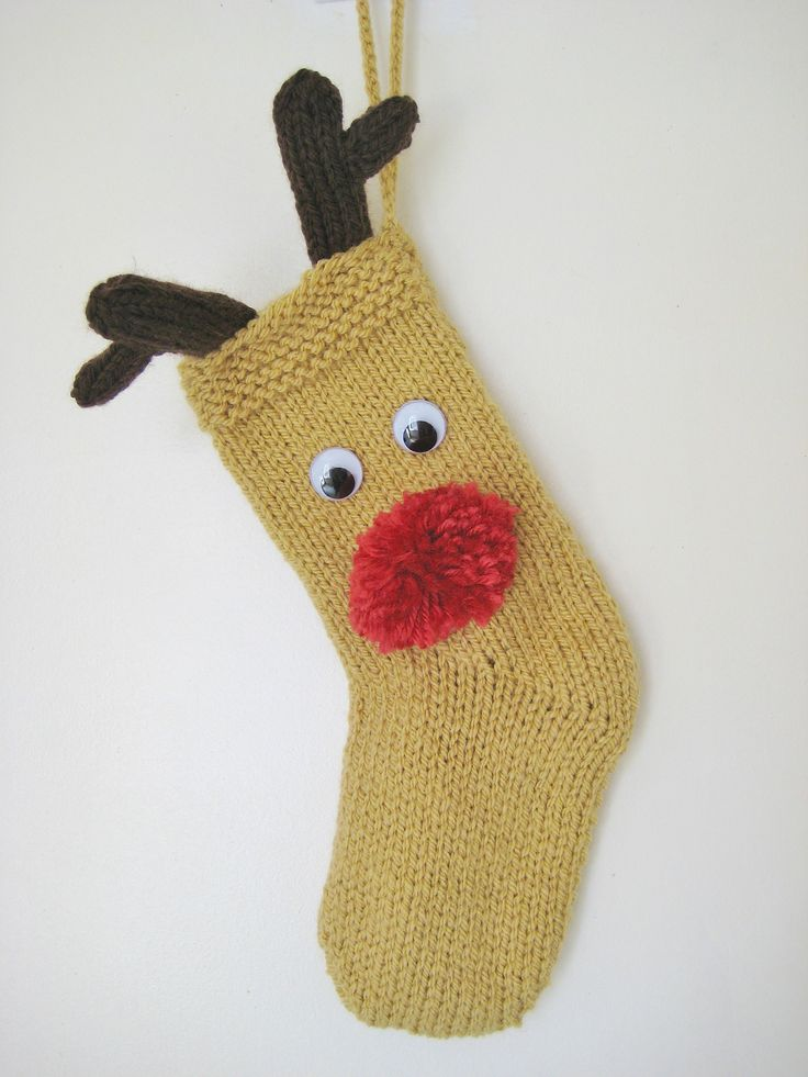 "Reindeer Stocking - Free Knitting Pattern - PDF File - Click ""download"" or ""free Ravelry download"" here: http://www.ravelry.com/patterns/library/reindeer-stocking-2"