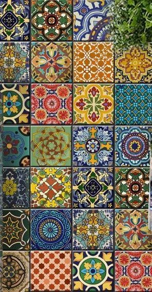 Beautiful tile in talavera style adds richness and color to any room. Would be a beautiful backsplash in my kitchen.