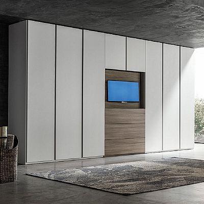 Big wardrobe with TV unit 'Hugo'. Beautiful piece, high quality materials, My Italian Living.