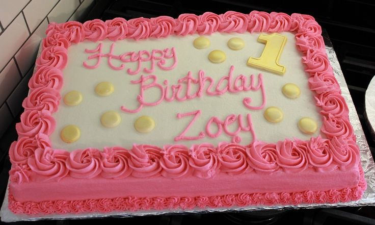 Pink & Gold Theme 1st Birthday Sheet Cake