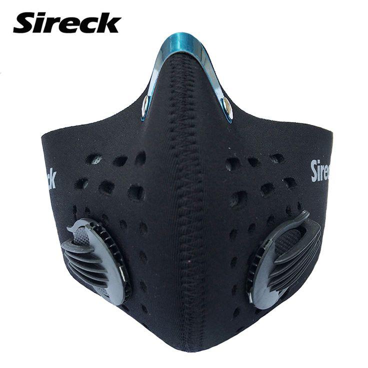 2016 Sireck topeng bersepeda dengan Filter 2 warna setengah menghadapi sepeda sepeda karbon pelatihan topeng Mascarilla Polvo Mascaras Ciclismo