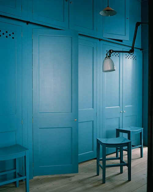 'The Anteroom' by Plain English Designs with cupboards and stools painted in 'Scullery Latch' from their new colour collection of paints by Adam Bray and Sue Skeen.