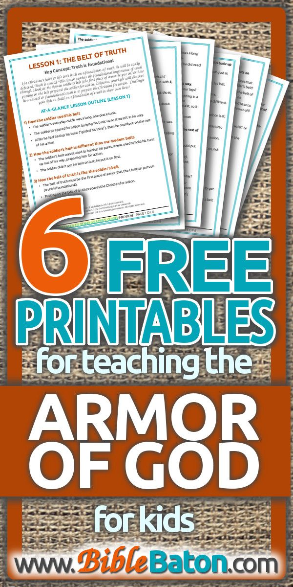 Free printable alert! These fantastic lesson plans for kids on the Armor of God include hands on learning activities, fun games, mini object lessons, faith building illustrations, and more. They'll definitely take the stress out of teaching Sunday School, children ministry, or VBS at church! And they're FREE!! Can't get any better than that. #freeprintable #sundayschool #vbs #armorofgod #kidmin