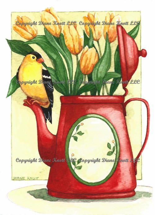 Goldfinch on Red Coffee Pot Digital Art Download by Diane Knott LLC by DianeKnottLLC on Etsy