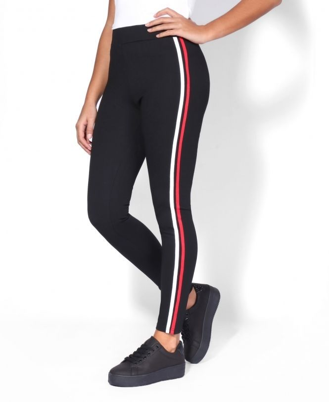 fd259eae98 White & Red Side-Stripe Leggings #leggins #comfy #gym #yoga #sculpting  #sport #workout Fashioned in thick, body-sculpting fabric, our White & Red  ...