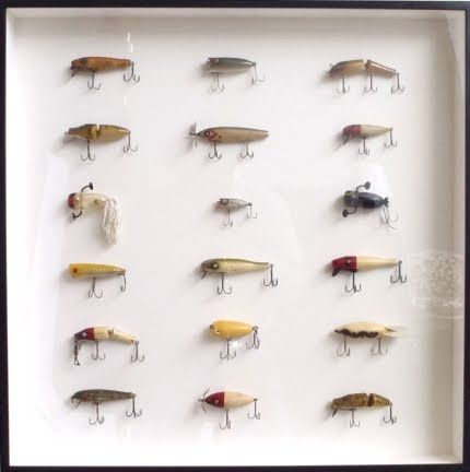 Framed Vintage Fishing Lures Would be cute in a lake house