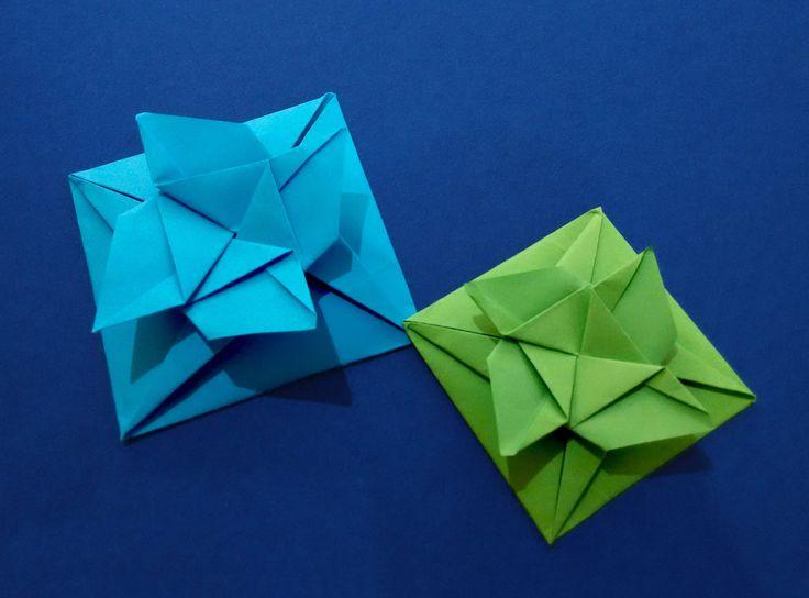 Easy Origami. Square flower envelope with secret message inside