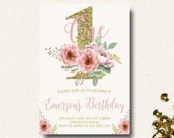 Cumpleaños floral invitación flor Boho chicas por DesignOnPaper